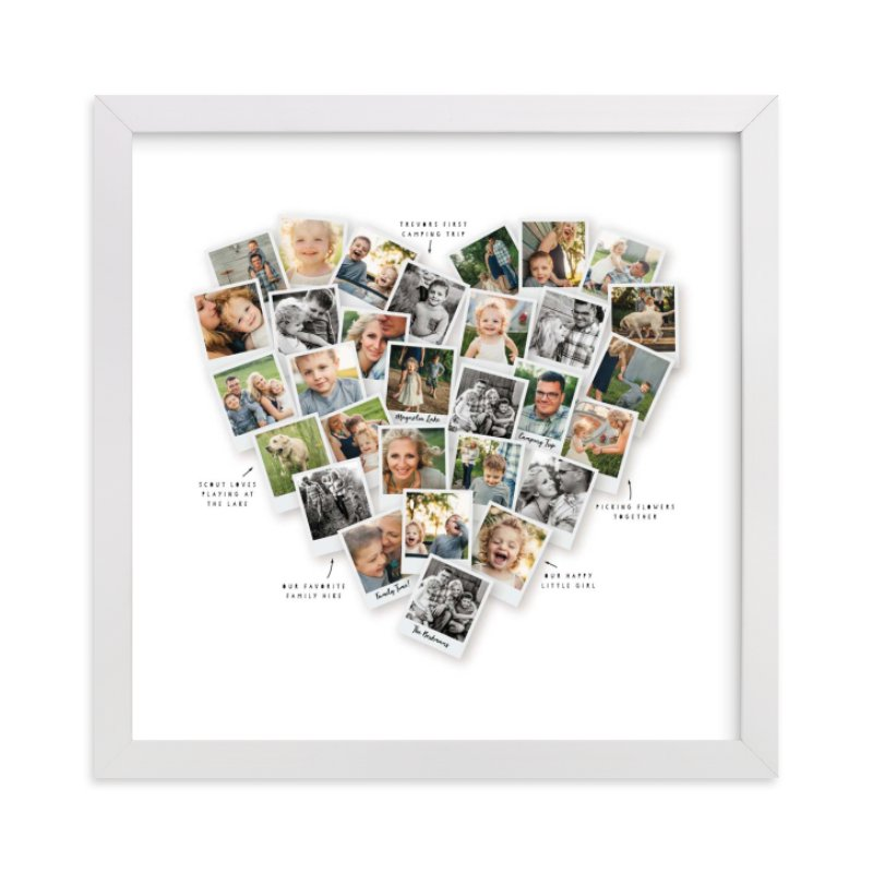 This is a white photo art by Minted called Captioned Heart Snapshot Mix® Photo Art.