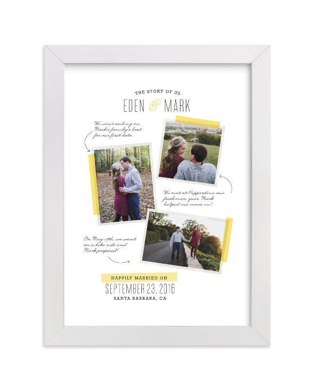 This is a yellow photo art by Melissa Egan of Pistols called The Story Of Us Collage with standard.