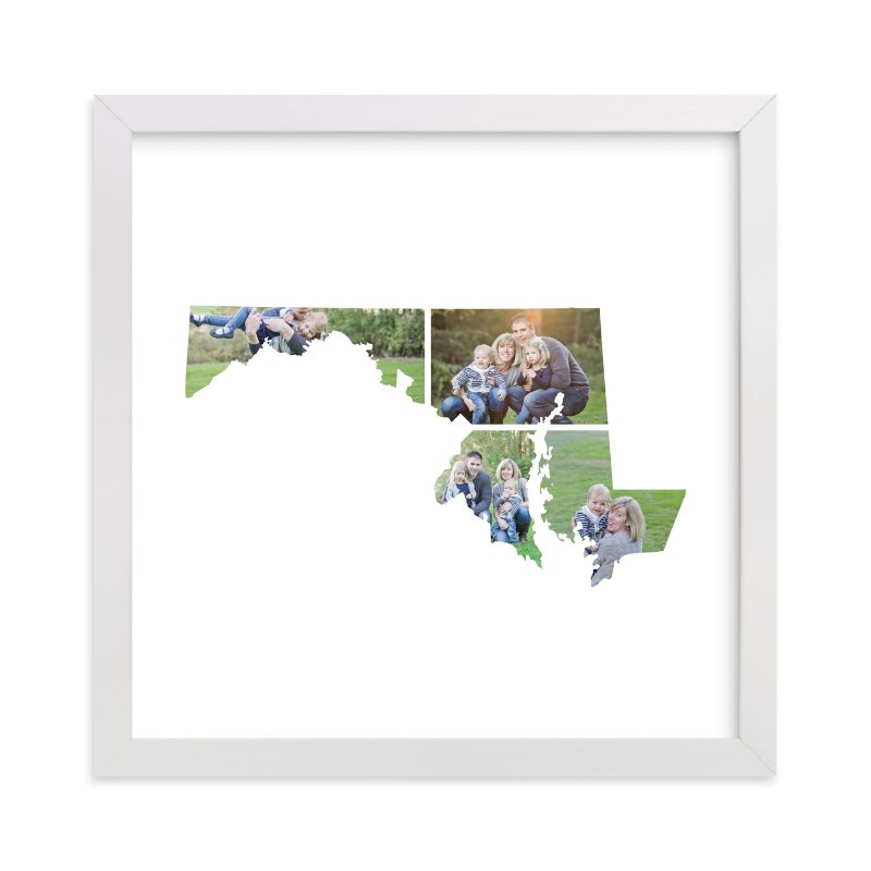This is a white photo art by Heather Buchma called Maryland Love Location with standard.