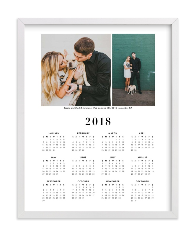 This is a black photo art by Minted called Wedding Photo Calendar (Two Photo) with standard.