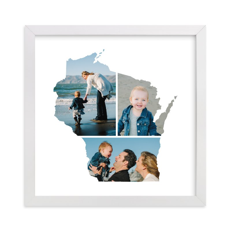 This is a white photo art by Heather Buchma called Wisconsin Love Location with standard.