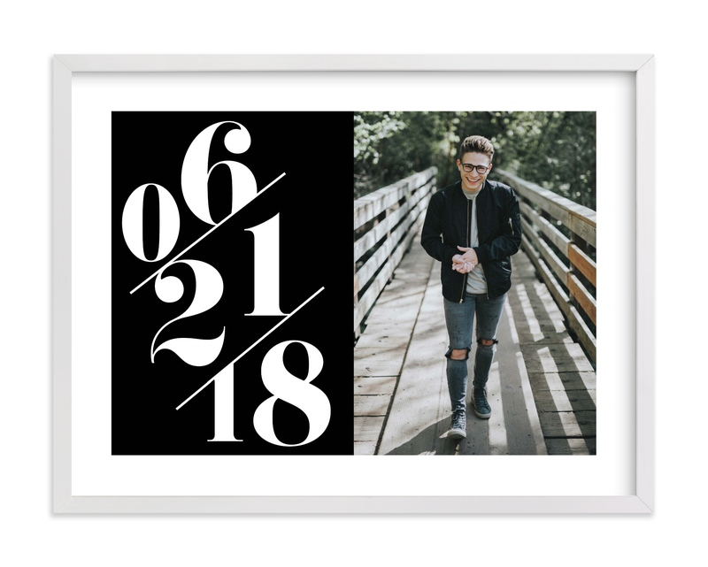 """""""Serif Date Photo Memento"""" - Custom Photo Art Print by Baumbirdy in beautiful frame options and a variety of sizes."""