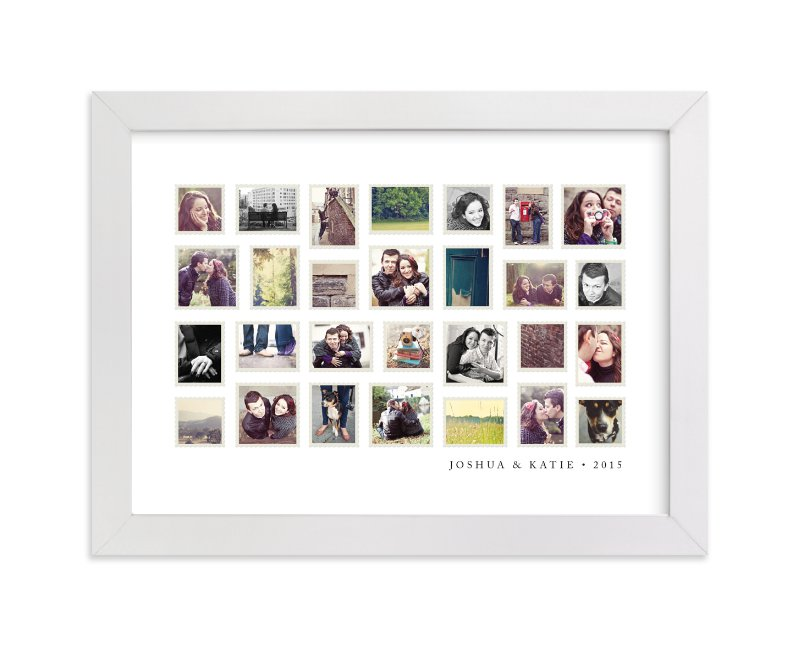 This is a white photo art by Jill Means called Stamp Collection with standard.