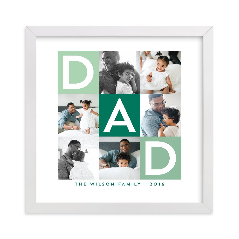 This is a green photo art by Alethea and Ruth called Best Dad Ever Boxes with standard.