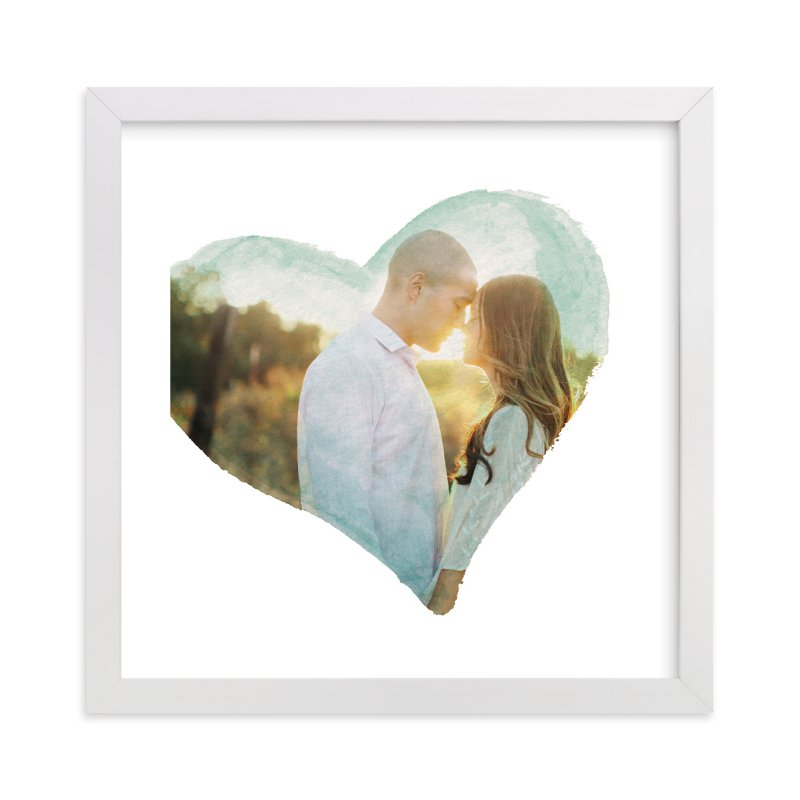 This is a green photo art by Smudge Design called Watercolor Heart with standard.