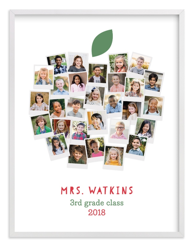 This is a green photo art by Laura Bolter Design called Apple for the Teacher.