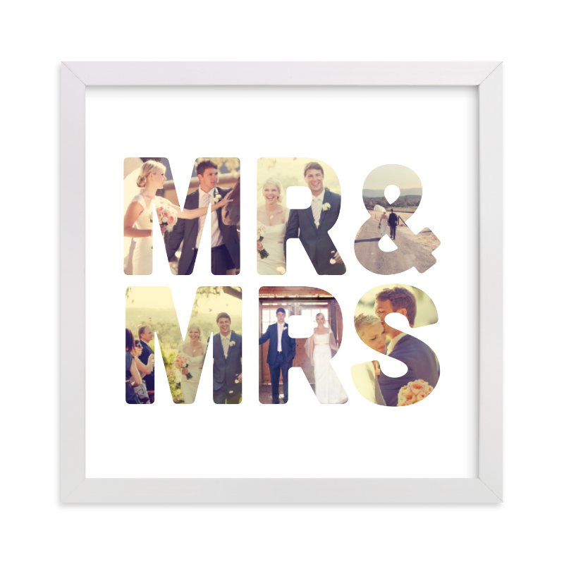 This is a white photo art by Katie Zimpel called Mr and Mrs with standard.