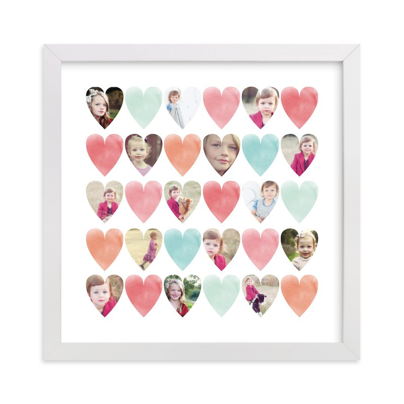 This is a pink photo art by Grace Kreinbrink called Watercolor Hearts.