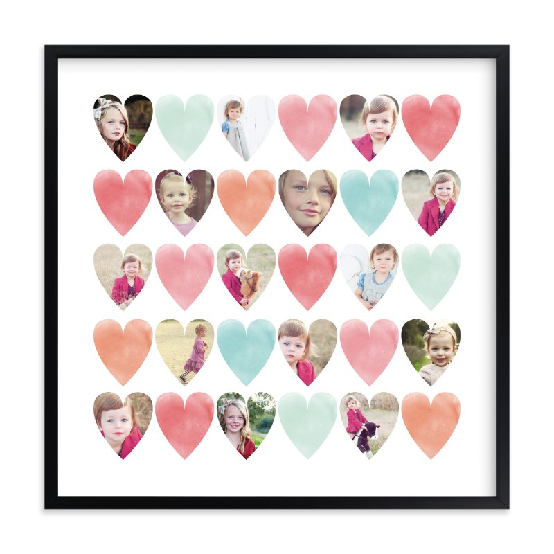 Watercolor Hearts - family photo collage