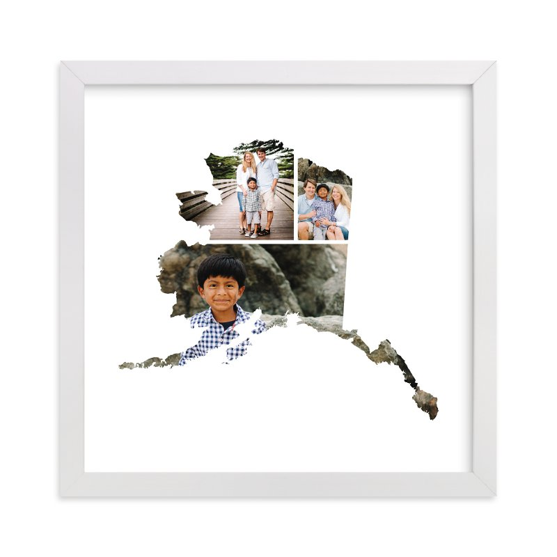 This is a white photo art by Heather Buchma called Alaska Love Location with standard.