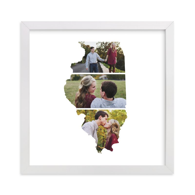 This is a white photo art by Heather Buchma called Illinois Love Location.