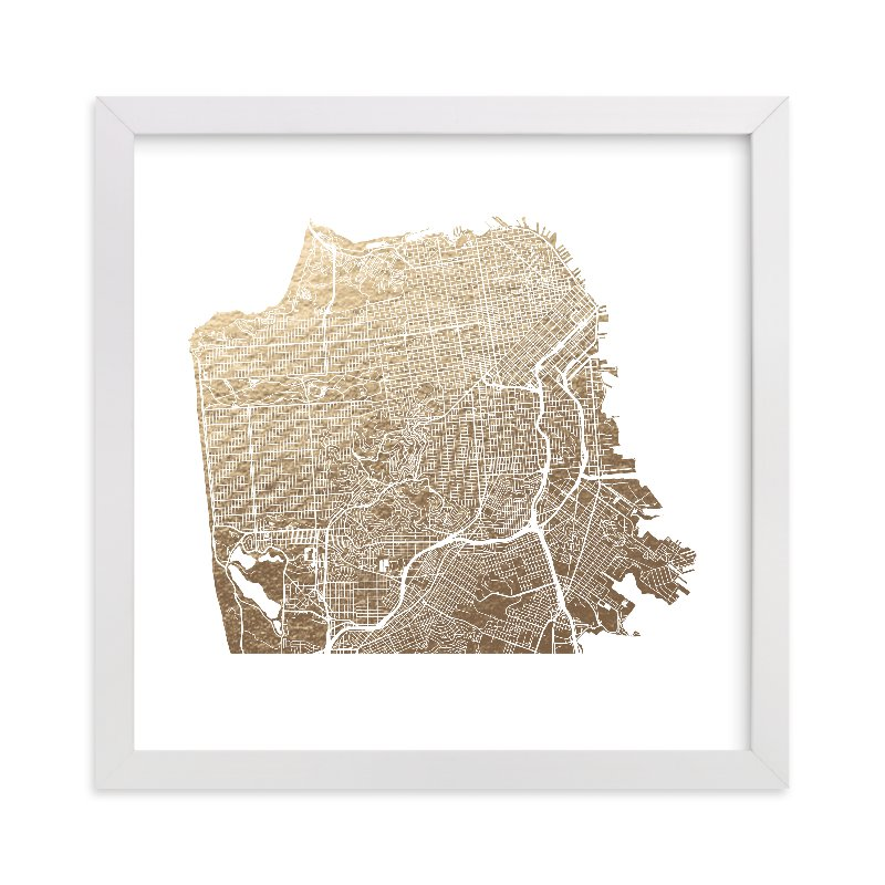 """""""San Francisco Map"""" - [non-custom] Foil-pressed Art Print by Alex Elko Design in beautiful frame options and a variety of sizes."""