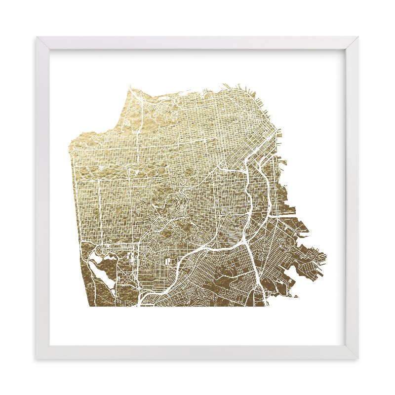 """San Francisco Map"" - [non-custom] Foil-pressed Art Print by Alex Elko Design in beautiful frame options and a variety of sizes."