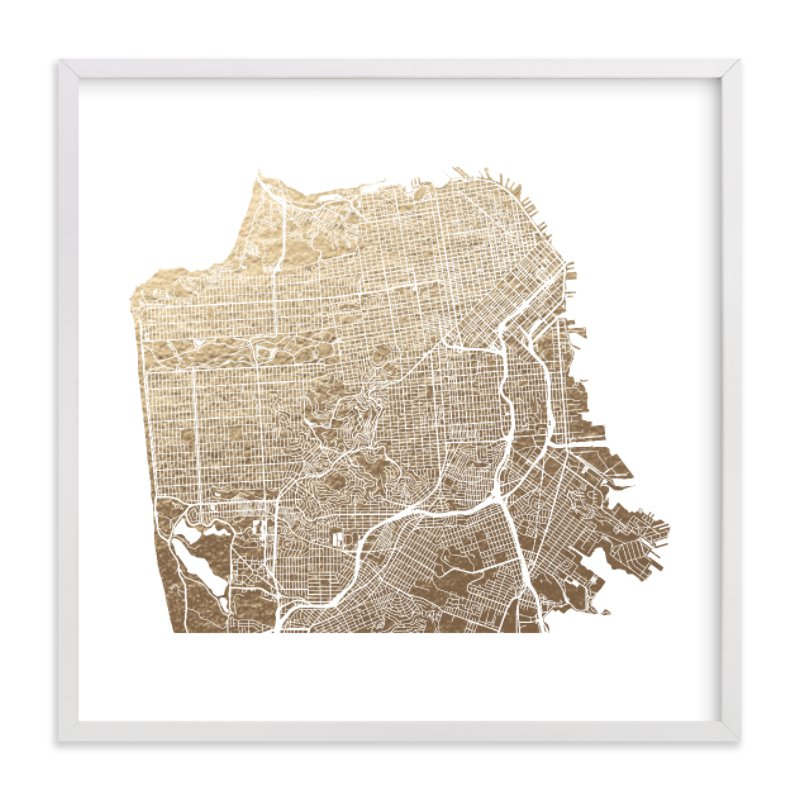 This is a white foil stamped wall art by Alex Elko Design called San Francisco Map with standard.