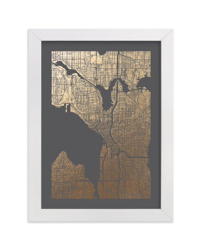 This is a grey foil stamped wall art by Alex Elko Design called Seattle Map with standard.