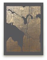 Seattle Map Foil-Pressed Wall Art