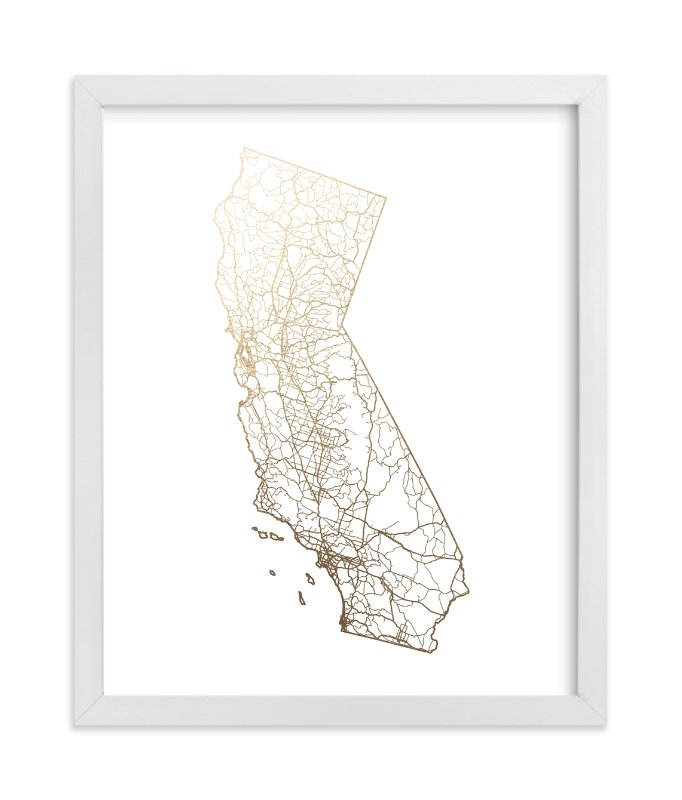 """""""California Map"""" - Foil-pressed Art Print by GeekInk Design in beautiful frame options and a variety of sizes."""