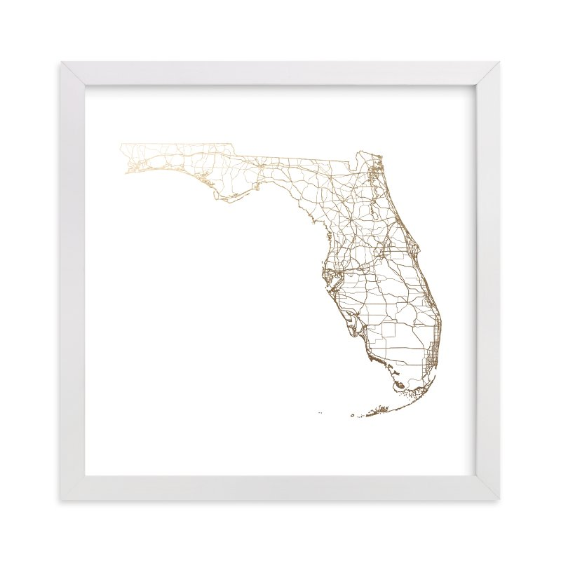 """""""Florida Map"""" - [non-custom] Foil-pressed Art Print by GeekInk Design in beautiful frame options and a variety of sizes."""