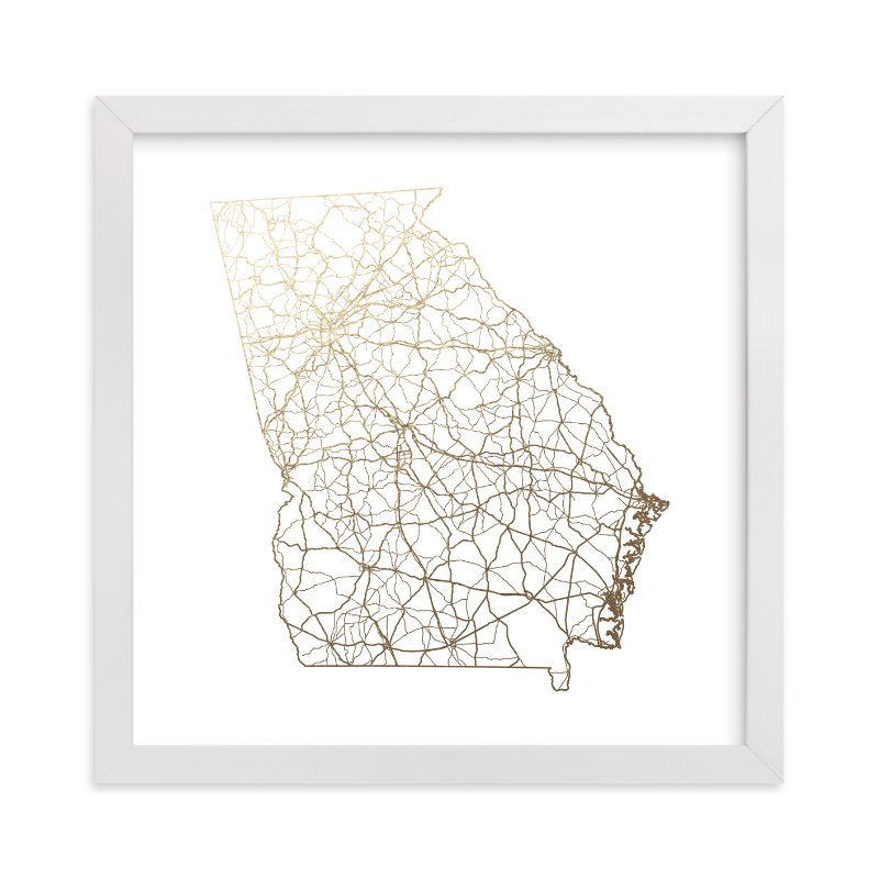 """""""Georgia Map"""" - [non-custom] Foil-pressed Art Print by GeekInk Design in beautiful frame options and a variety of sizes."""