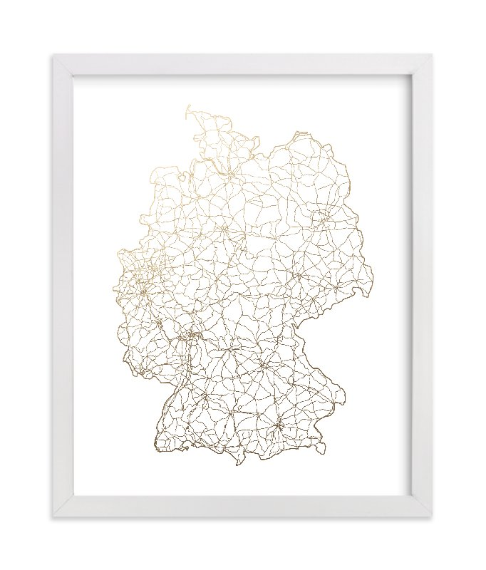 """""""Germany Map"""" - [non-custom] Foil-pressed Art Print by GeekInk Design in beautiful frame options and a variety of sizes."""