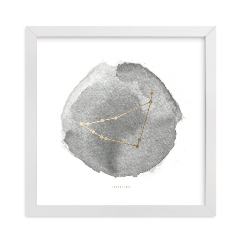 """Capricorn"" - Foil-pressed Art Print by annie clark in beautiful frame options and a variety of sizes."