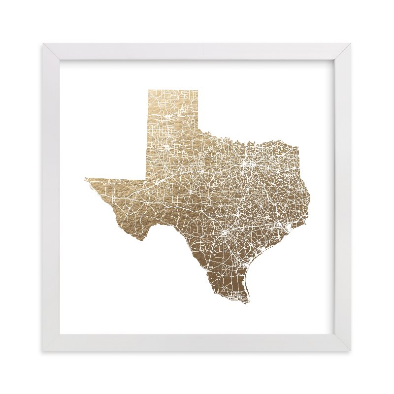 """Texas Map Filled"" - [non-custom] Foil-pressed Art Print by GeekInk Design in beautiful frame options and a variety of sizes."