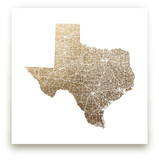 Texas Map Filled Foil-Pressed Wall Art
