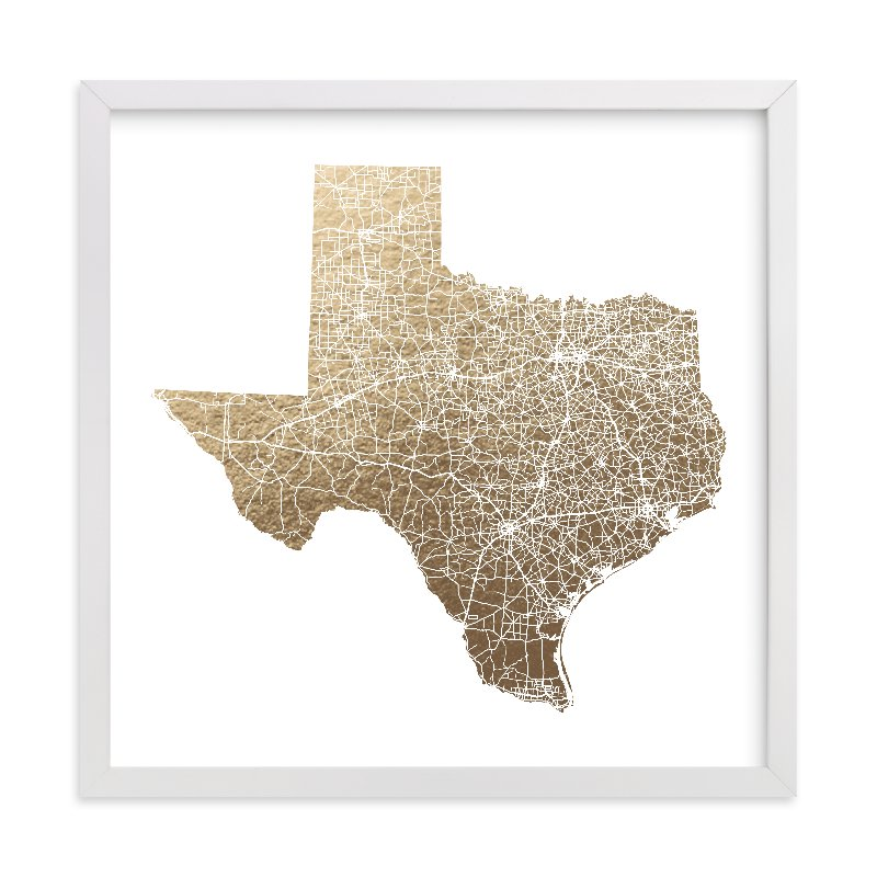 """""""Texas Map Filled"""" - [non-custom] Foil-pressed Art Print by GeekInk Design in beautiful frame options and a variety of sizes."""