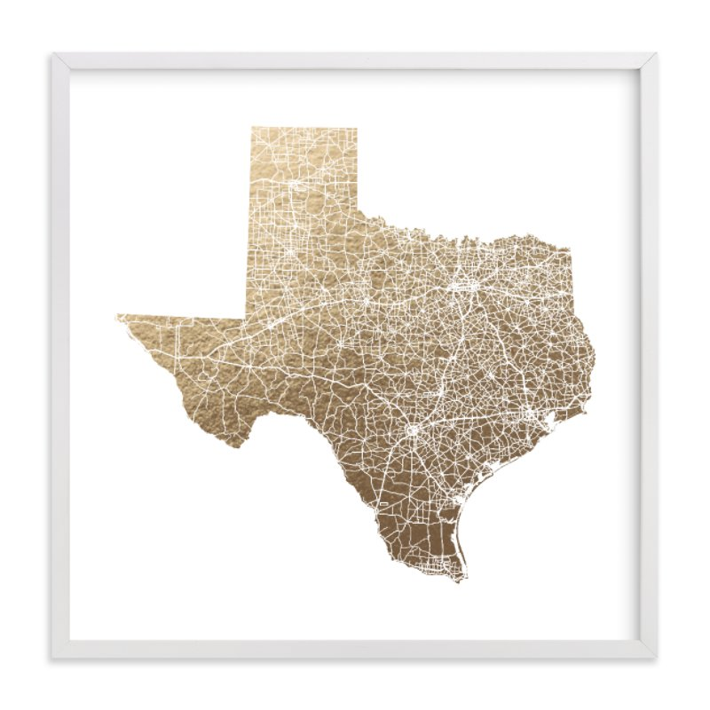 This is a white foil stamped wall art by GeekInk Design called Texas Map Filled with standard.