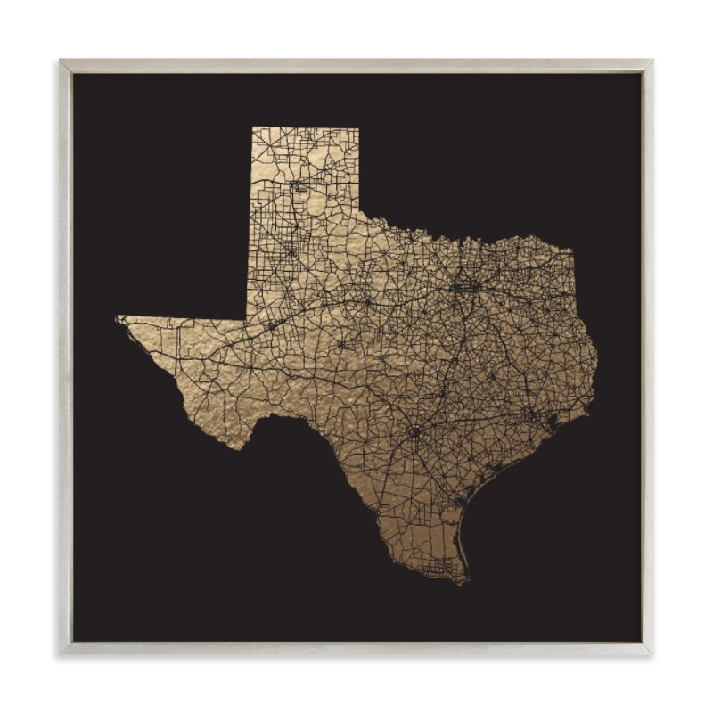 Texas Map Filled Foil-Pressed Art Print