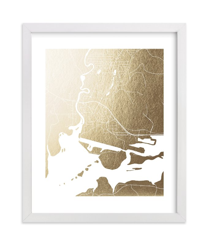 """""""Juneau Map"""" - [non-custom] Foil-pressed Art Print by Laura Condouris in beautiful frame options and a variety of sizes."""
