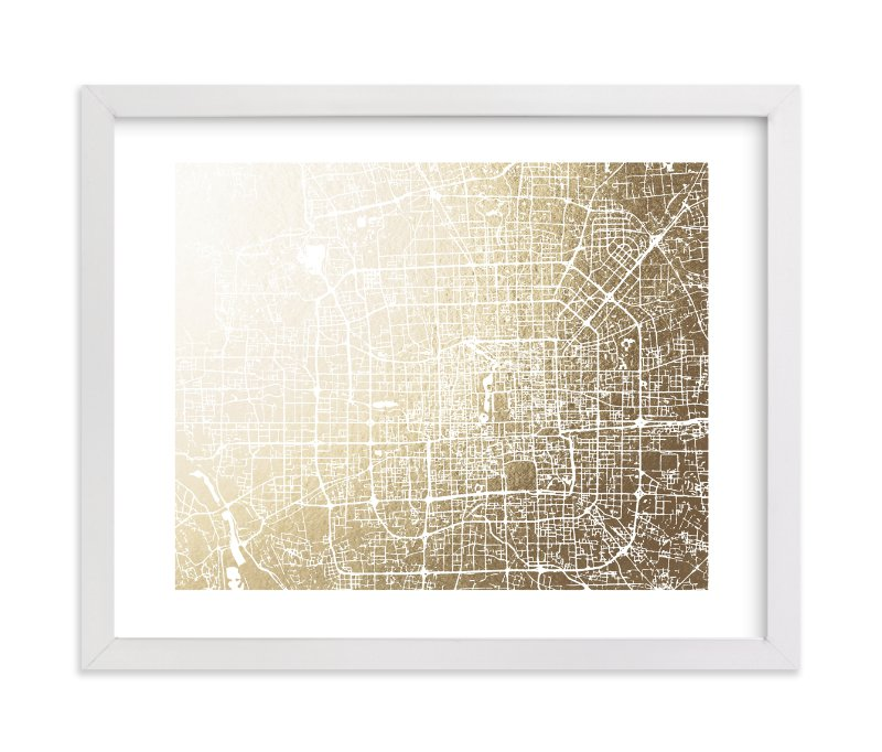 """Beijing Map"" - [non-custom] Foil-pressed Art Print by Melissa Kelman in beautiful frame options and a variety of sizes."