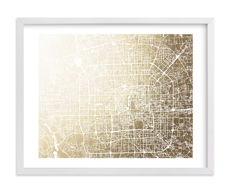 This is a gold foil stamped wall art by Melissa Kelman called Beijing Map.