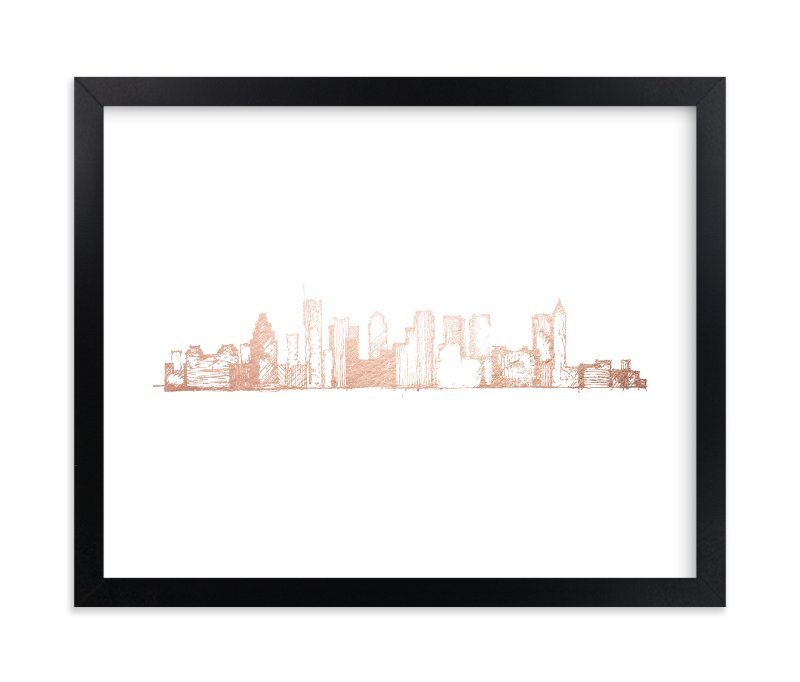 """""""Boston Skyline"""" - [non-custom] Foil-pressed Art Print by Phrosne Ras in beautiful frame options and a variety of sizes."""