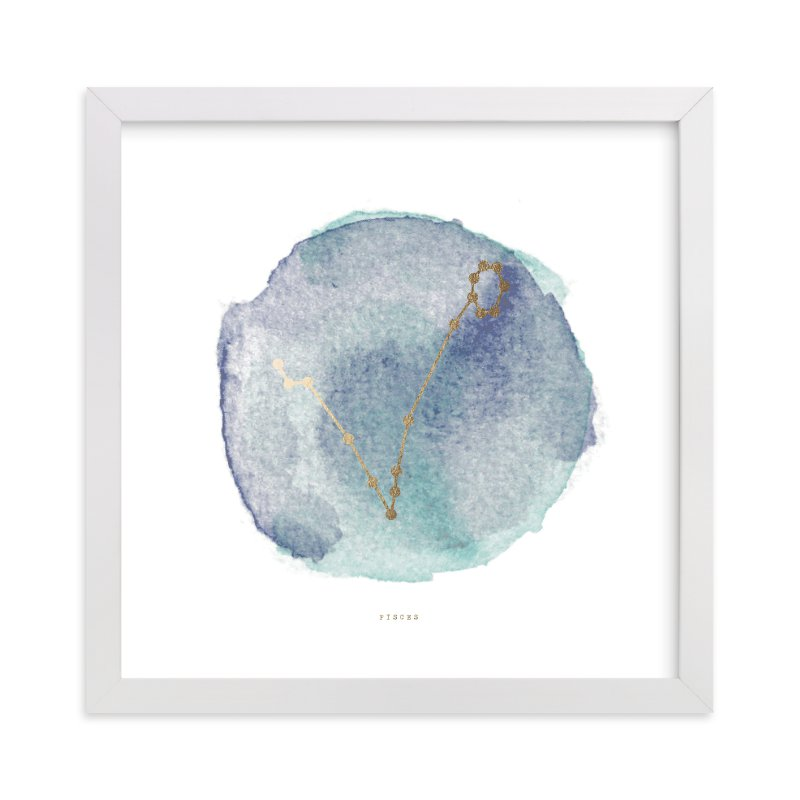 """""""Pisces"""" - [non-custom] Foil-pressed Art Print by Annie Clark in beautiful frame options and a variety of sizes."""
