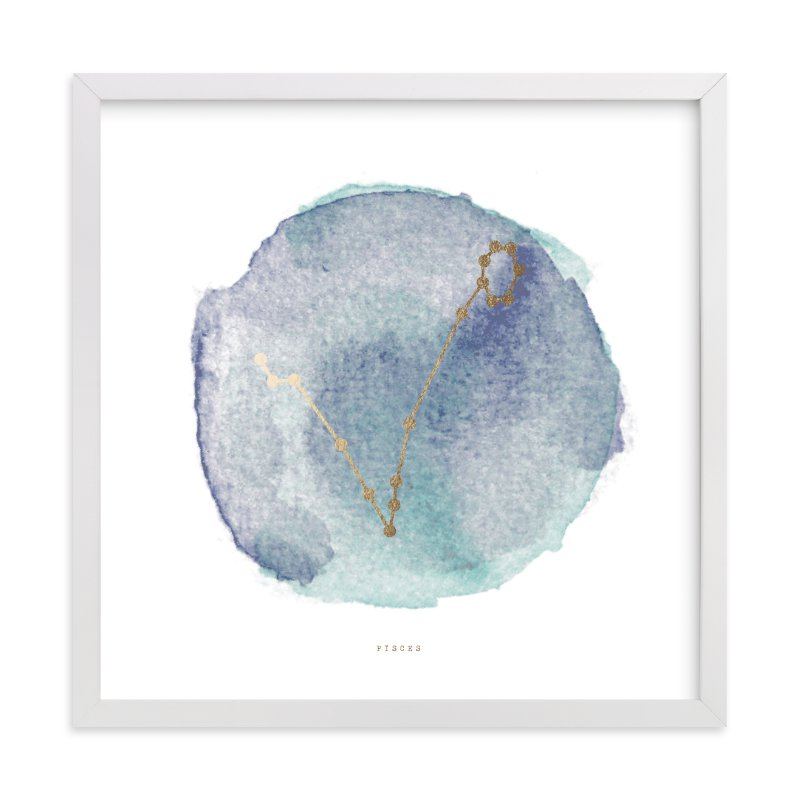 """Pisces"" - [non-custom] Foil-pressed Art Print by Annie Clark in beautiful frame options and a variety of sizes."
