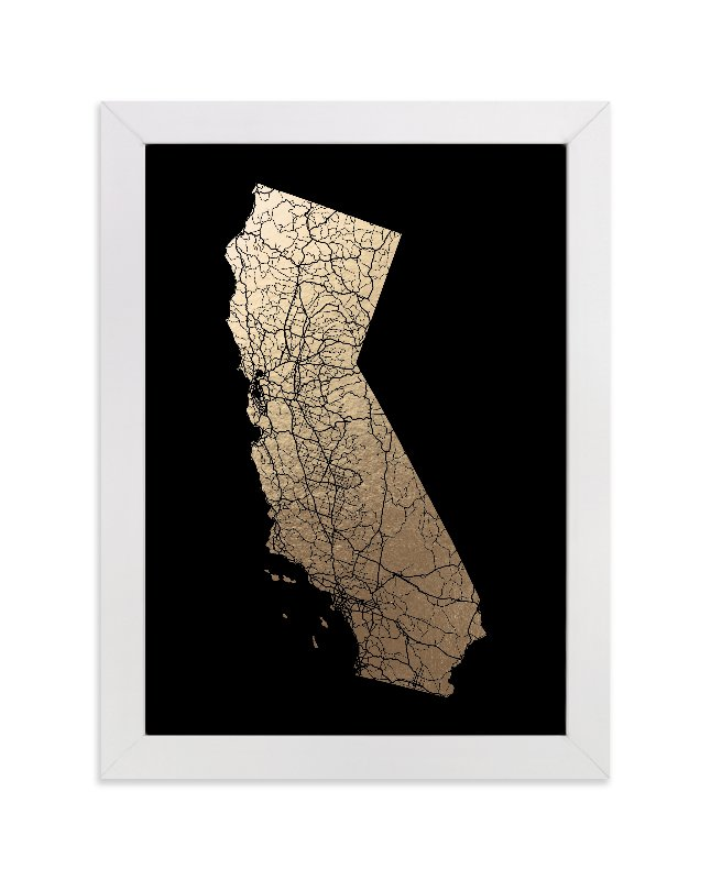 This is a black foil stamped wall art by GeekInk Design called California Map Filled with standard.
