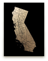 California Map Filled Foil-Pressed Wall Art