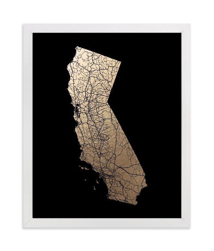 """""""California Map Filled"""" - [non-custom] Foil-pressed Art Print by GeekInk Design in beautiful frame options and a variety of sizes."""