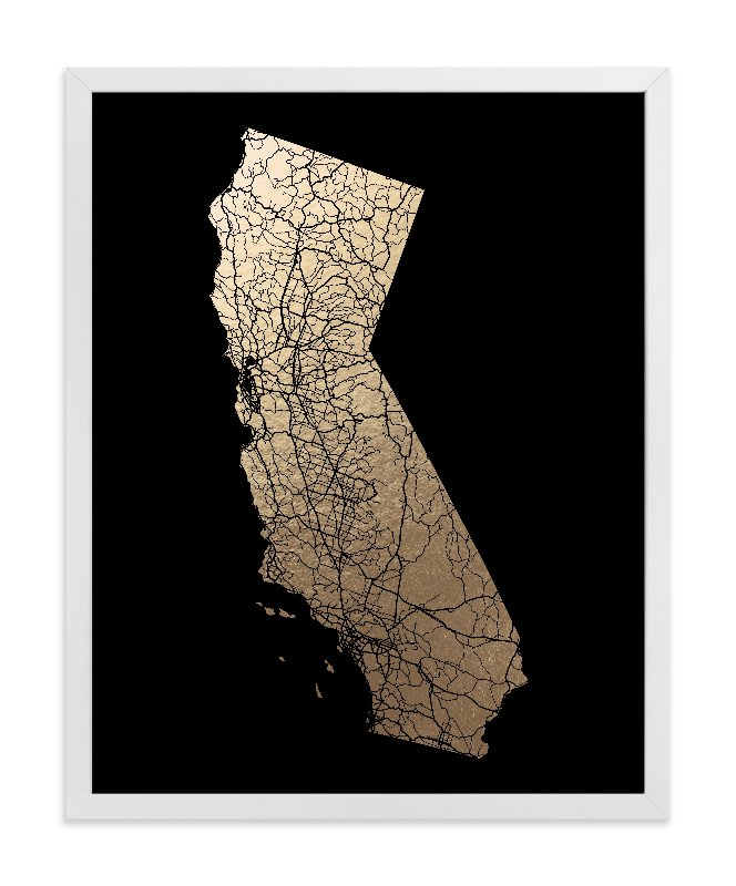 """California Map Filled"" - [non-custom] Foil-pressed Art Print by GeekInk Design in beautiful frame options and a variety of sizes."