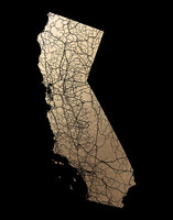 California Map Filled Foil-Pressed Art Print  By GeekInk Design
