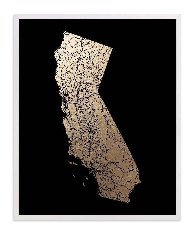 This is a black foil stamped wall art by GeekInk Design called California Map Filled.