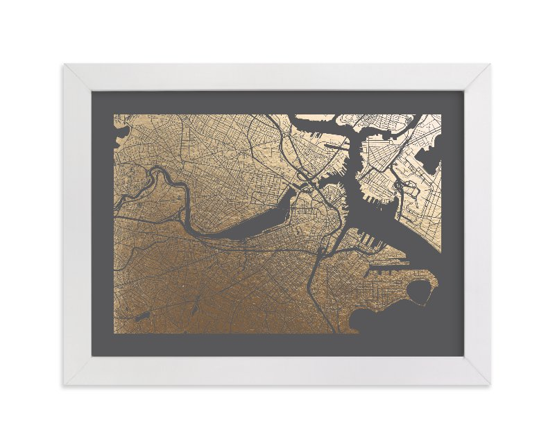 This is a grey foil stamped wall art by Alex Elko Design called Boston Map.