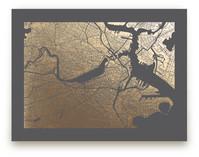 Boston Map Foil-Pressed Wall Art