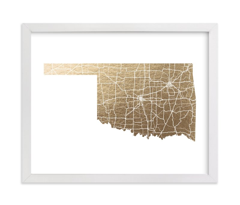 """Oklahoma Map"" - [non-custom] Foil-pressed Art Print by GeekInk Design in beautiful frame options and a variety of sizes."