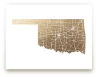 Oklahoma Map Foil-Pressed Wall Art