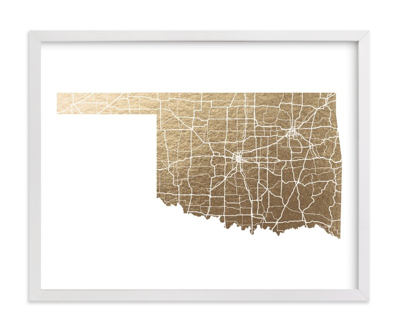This is a gold foil stamped wall art by GeekInk Design called Oklahoma Map.