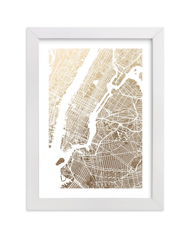 """New York City Map"" - Foil-pressed Art Print by Alex Elko Design in beautiful frame options and a variety of sizes."