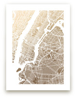 New York City Map Foil-Pressed Wall Art