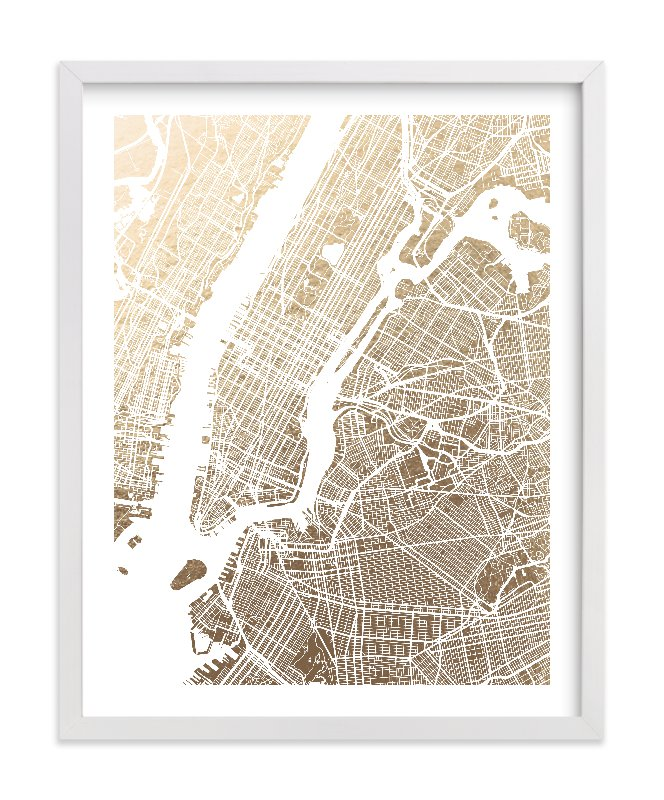This is a white foil stamped wall art by Alex Elko Design called New York City Map with standard.